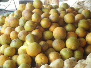 "This is as ""orange"" as local oranges get."